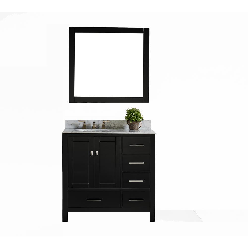San Clemente 36 in. Vanity in Espresso with Italian Carrara Marble
