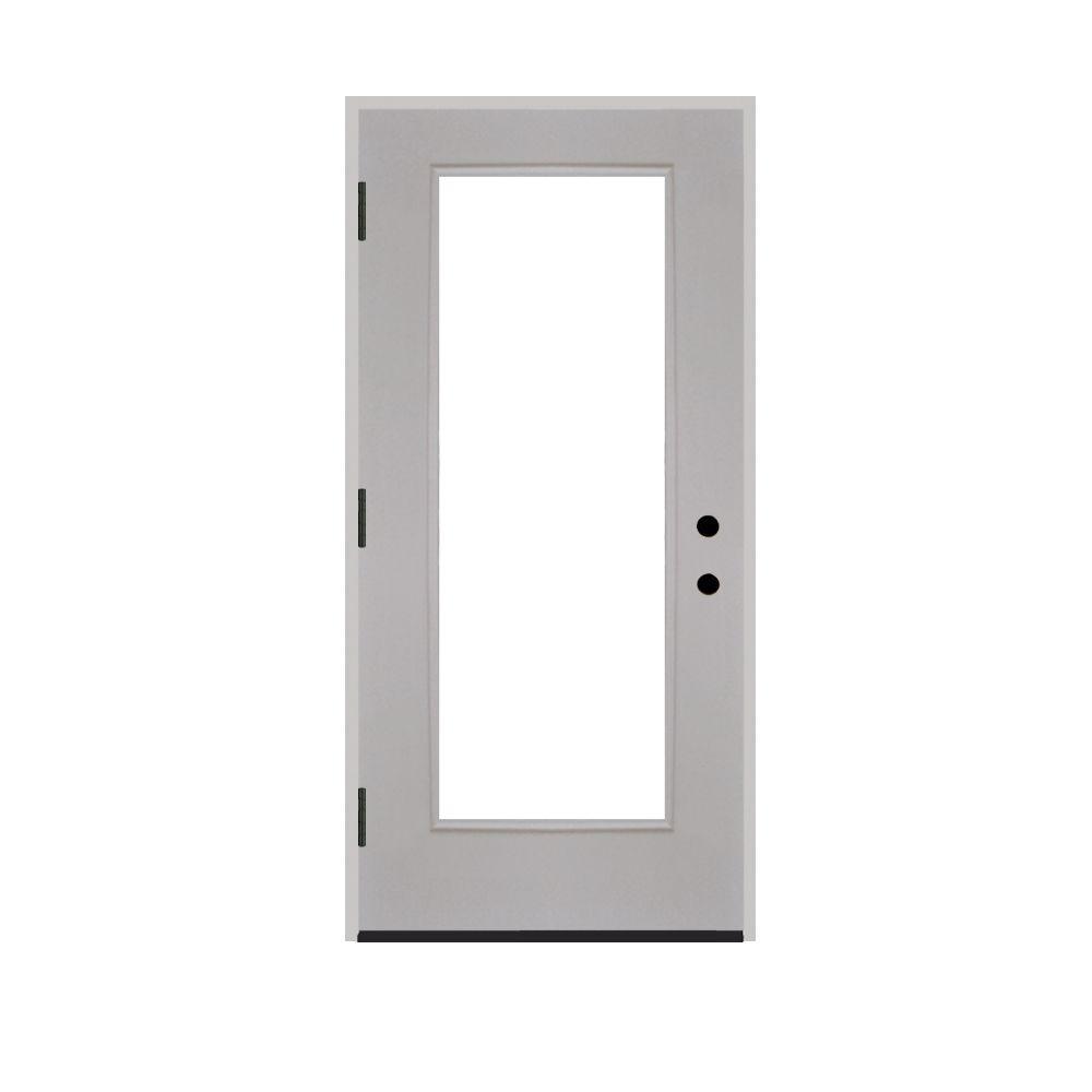 Steves & Sons 30 in. x 80 in. Premium Full Lite Primed White Fiberglass Prehung Front Door