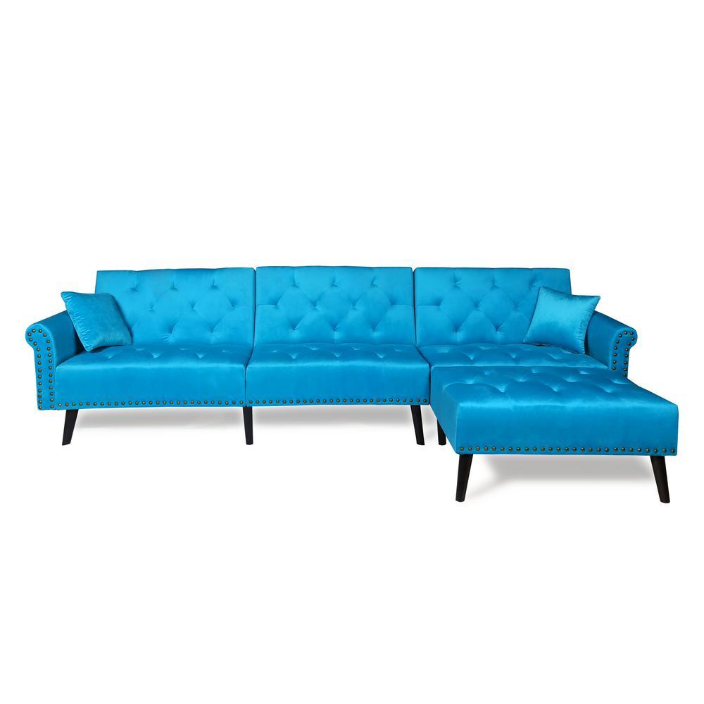 Merax Blue 2-Piece Modern Vintage Futon Sofa Bed Set W223S00003