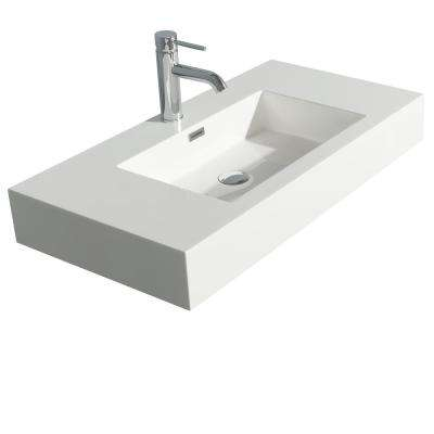Daniella 36 in. W x 18 in. D Resin Single Basin Vanity Top in White with White Basin