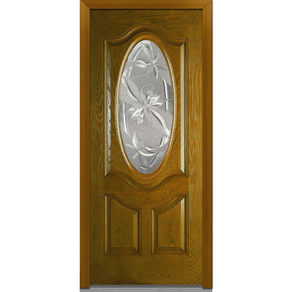 Milliken Millwork 36 in. x 80 in. Lasting Impressions Decorative Glass 3/4 Oval Lite 2-Panel Finished Oak Fiberglass Prehung Front Door