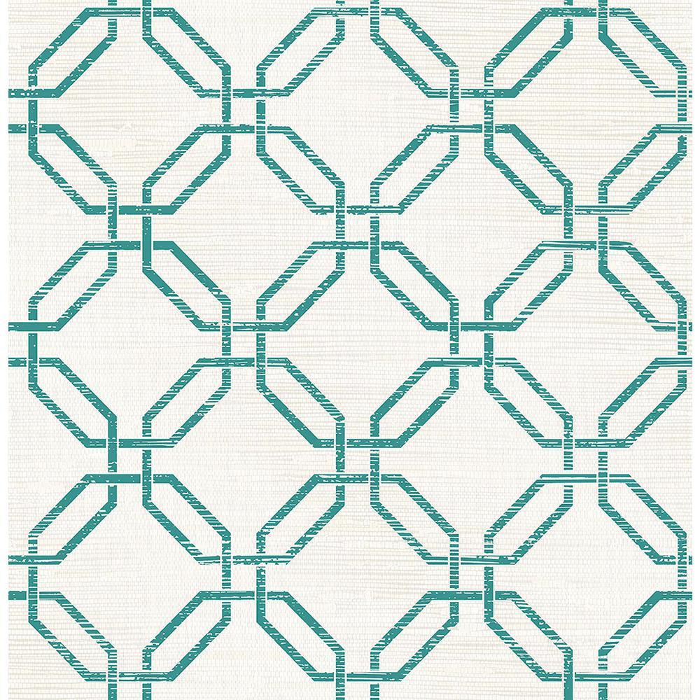 56.4 sq. ft. Phaius Teal Trellis Wallpaper