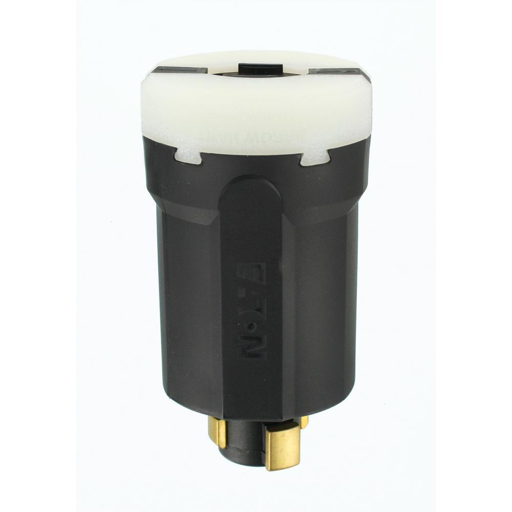 30 Amp 600-Volt AC 20 Amp 250-Volt Locking Grounding Plug, Gray