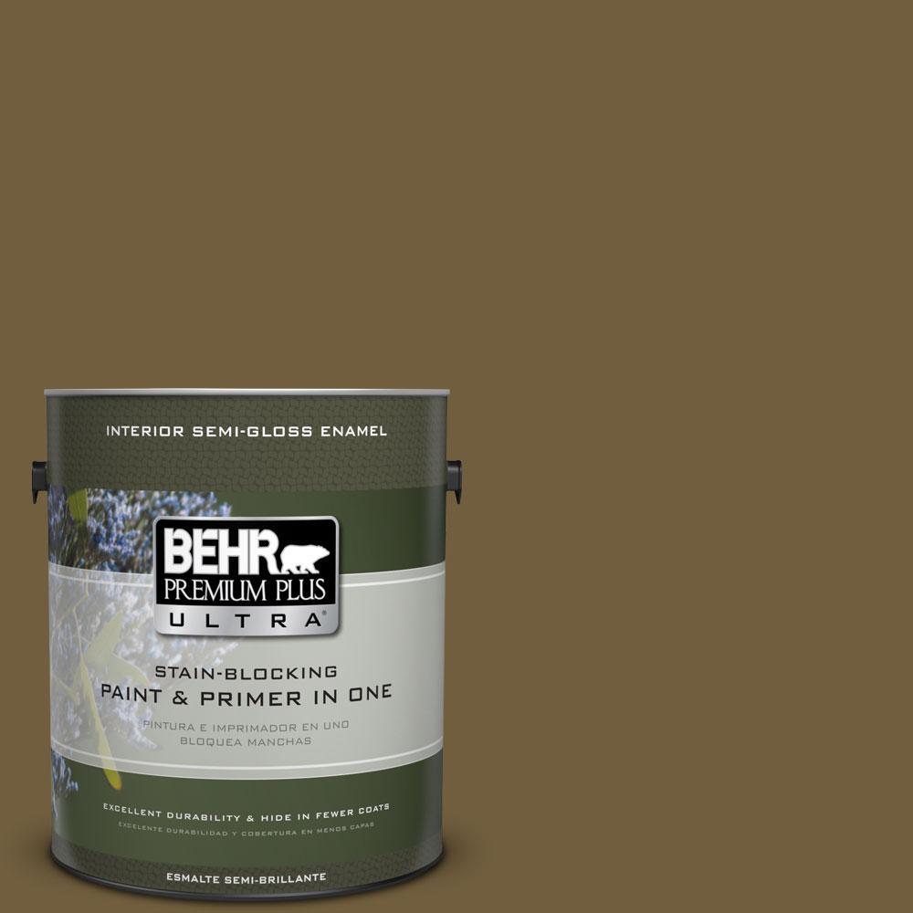 1-gal. #360F-7 Olive Shadow Semi-Gloss Enamel Interior Paint