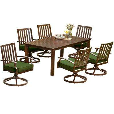 Bridgeport 7-Piece Metal Motion Outdoor Dining Set with Green Cushions