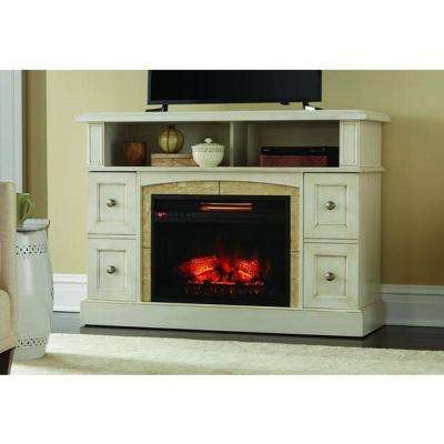 Bellevue Park 48 in. Media Console Infrared Electric Fireplace in Antique White Finish