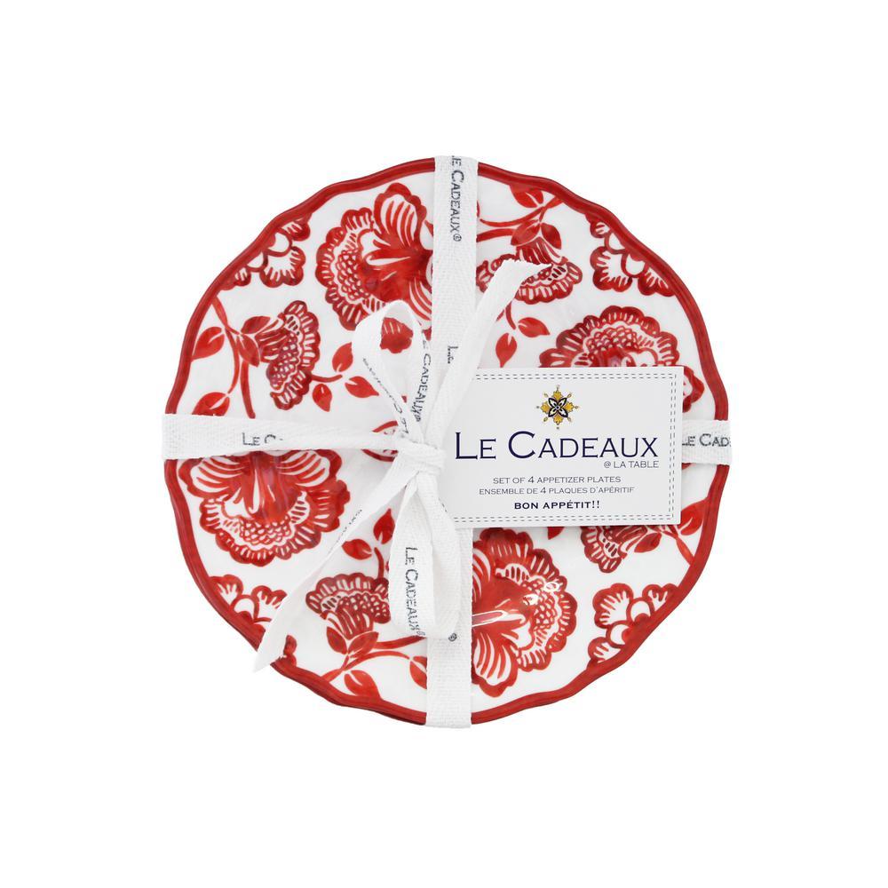 Jardin Red Appetizer Plates (Set of 4)