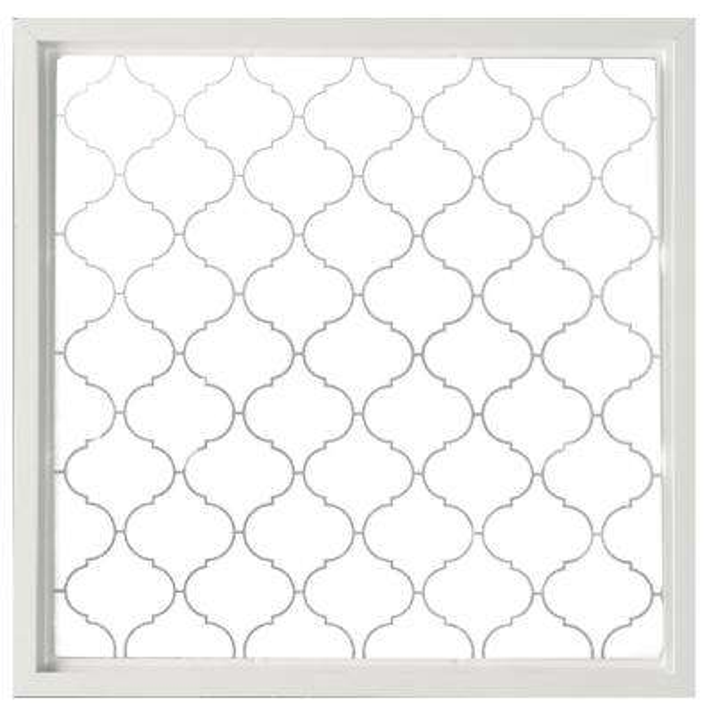 23.5 in. x 23.5 in. Baroque Decorative Glass Picture Vinyl Window - White