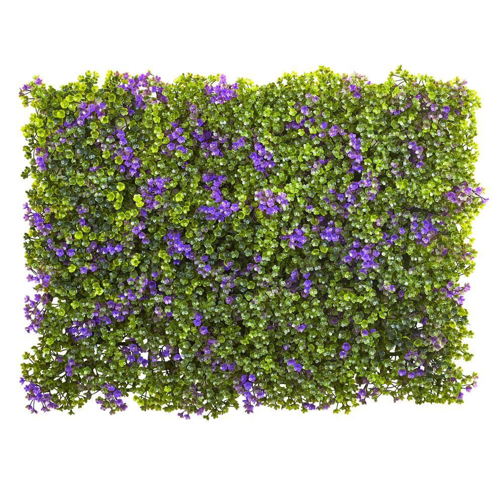 Nearly Natural 6 In X 6 In Purple And Green Clover Mat