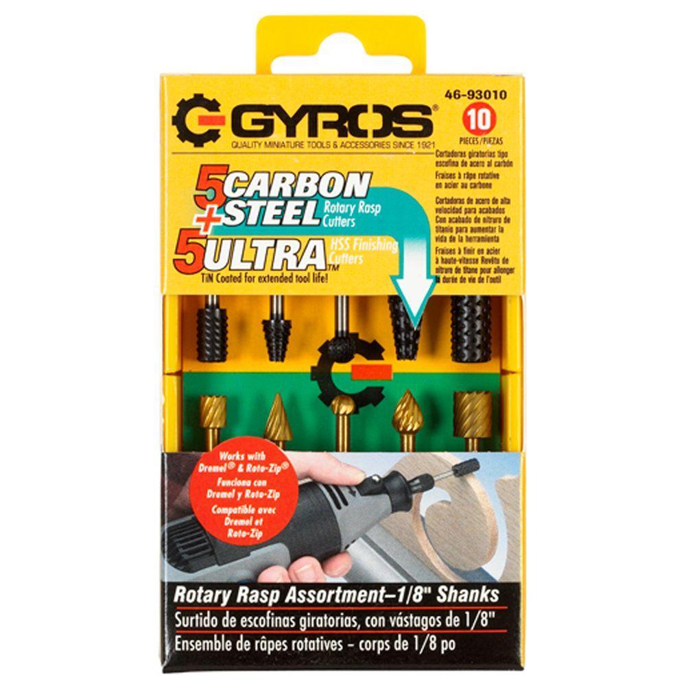 Gyros Rotary Rasp Cutter Assortment (10-Piece) by Gyros