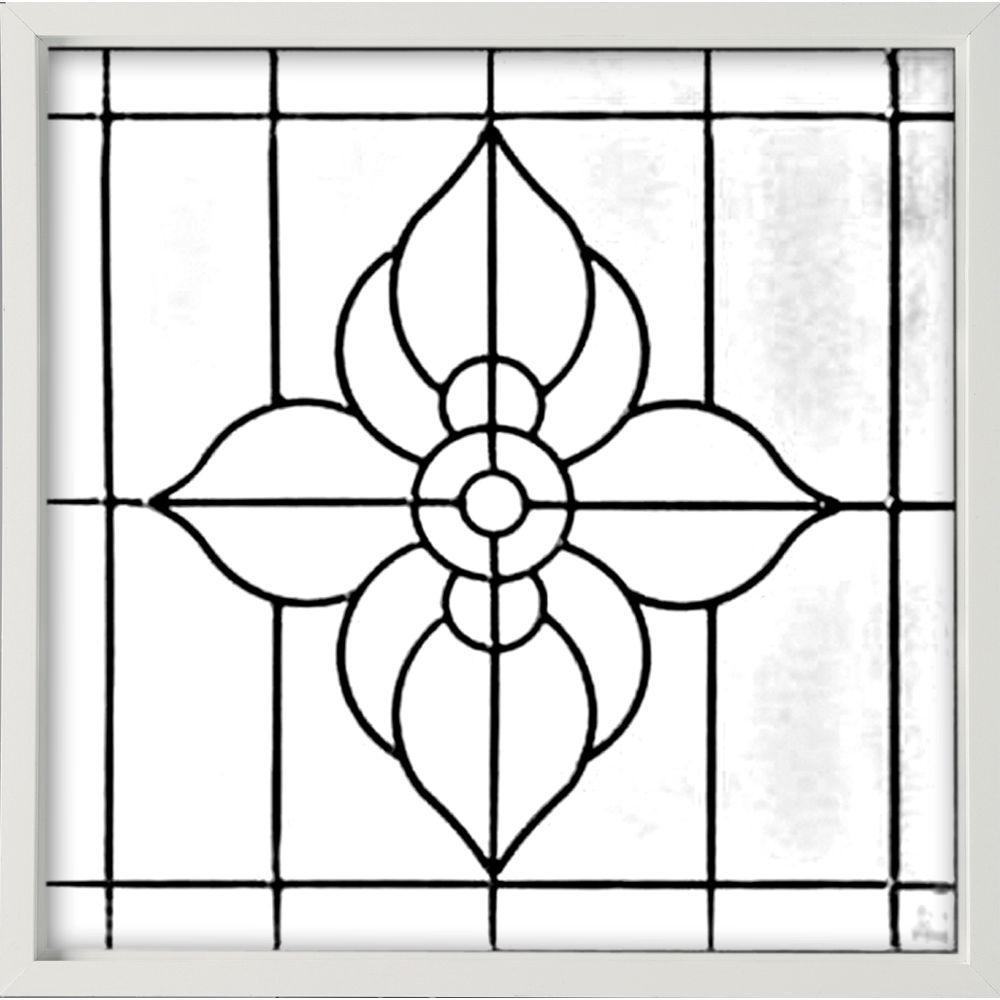 Hy-Lite 25 in. x 25 in. Decorative Glass Fixed Vinyl Window - White