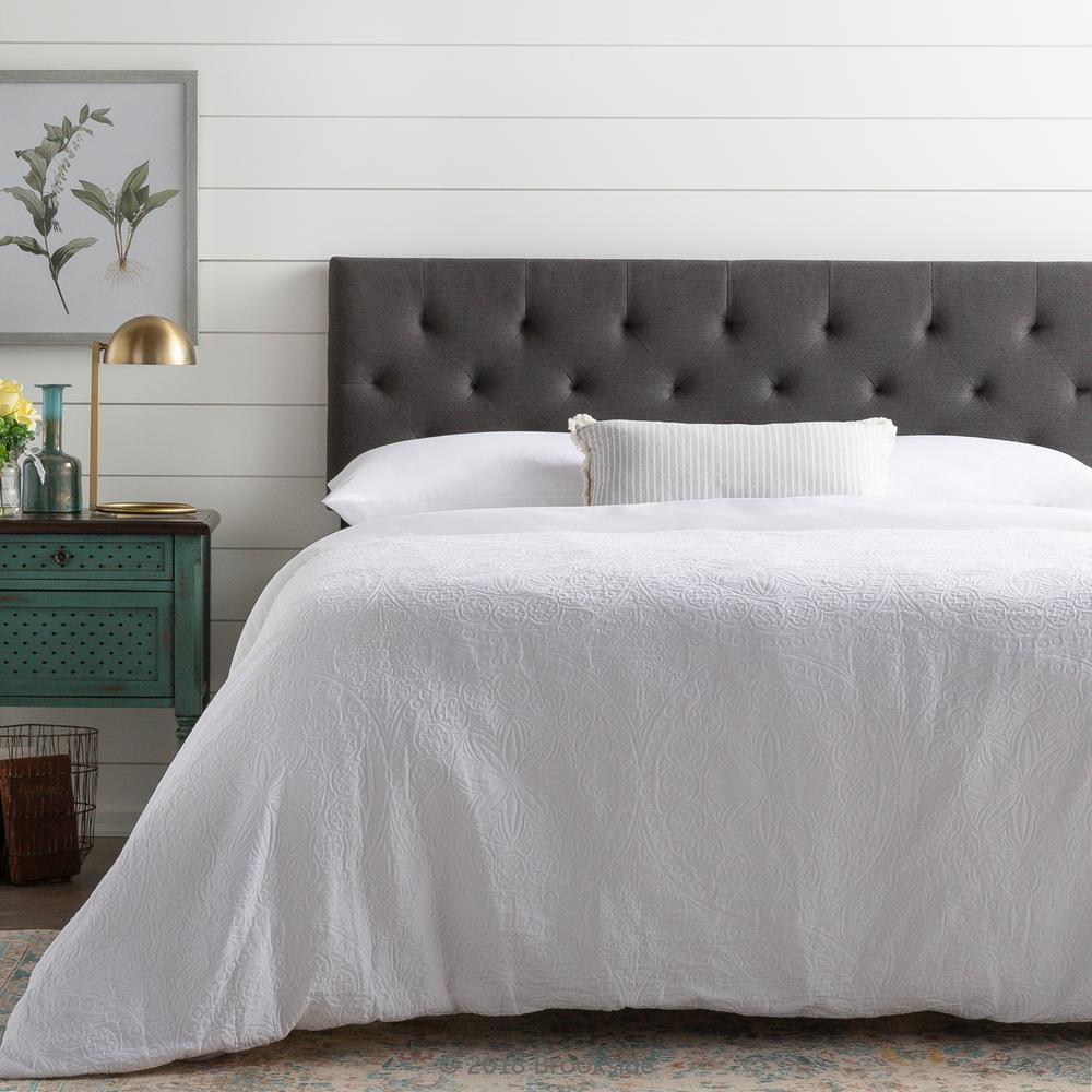 Brookside emmie adjustable charcoal twin upholstered headboard