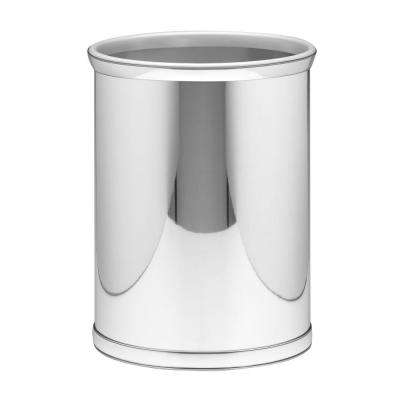 Mylar 13 Qt. Polished Chrome Oval Waste Basket