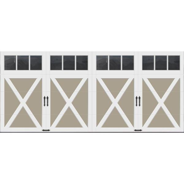 Coachman Collection 16 ft. x 7 ft. 18.4 R-Value Intellicore Insulated Sandtone Garage Door with REC13 Window