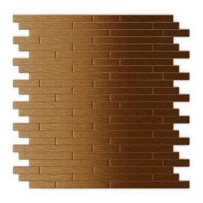 Wally 11.88 in. x 12 in. Self-Adhesive Decorative Wall Tile in Dark Copper (24-Pack)