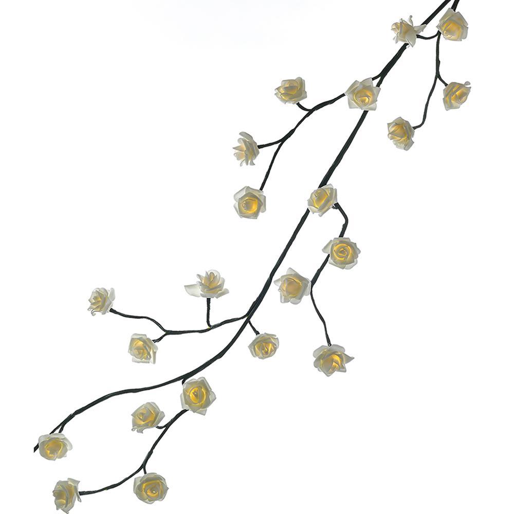 Kurt Adler 6 ft. Green Garland with 48 Warm White Rose Lights