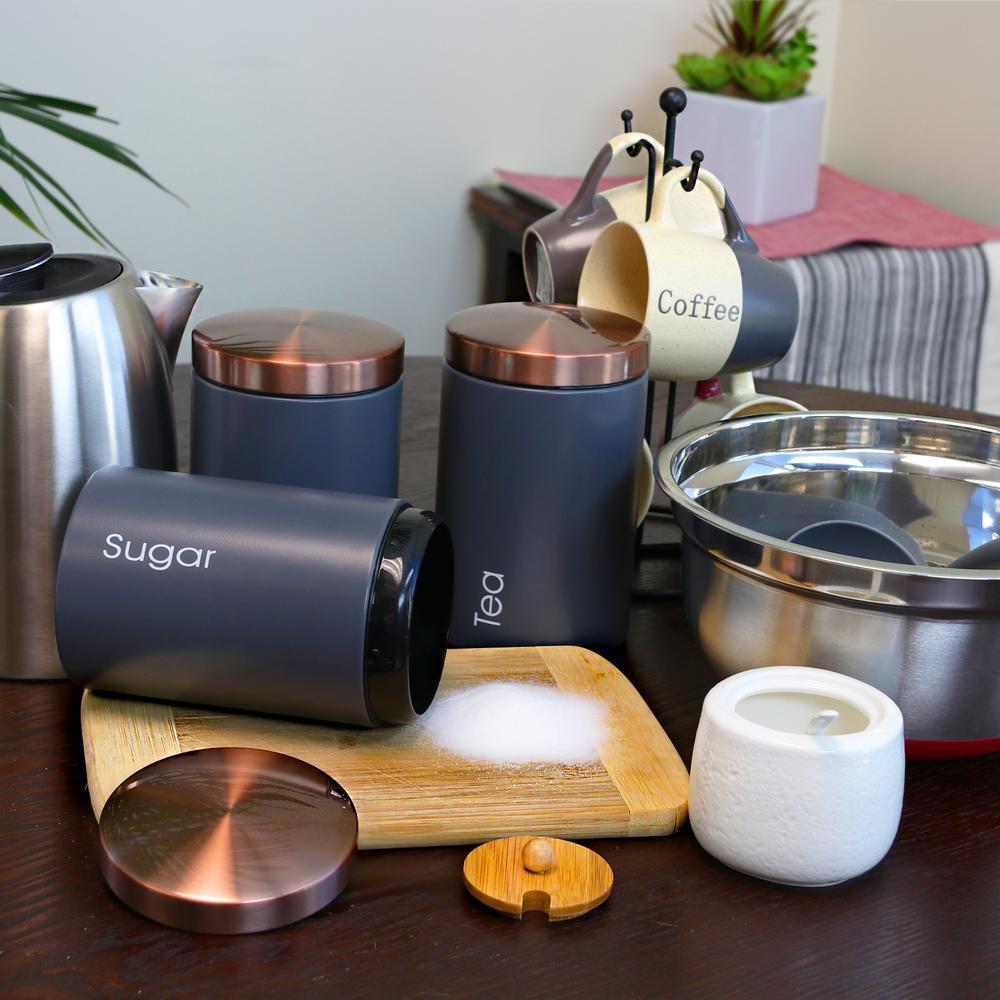 MegaChef Essential Kitchen Storage 3-Piece Metal Canister ...