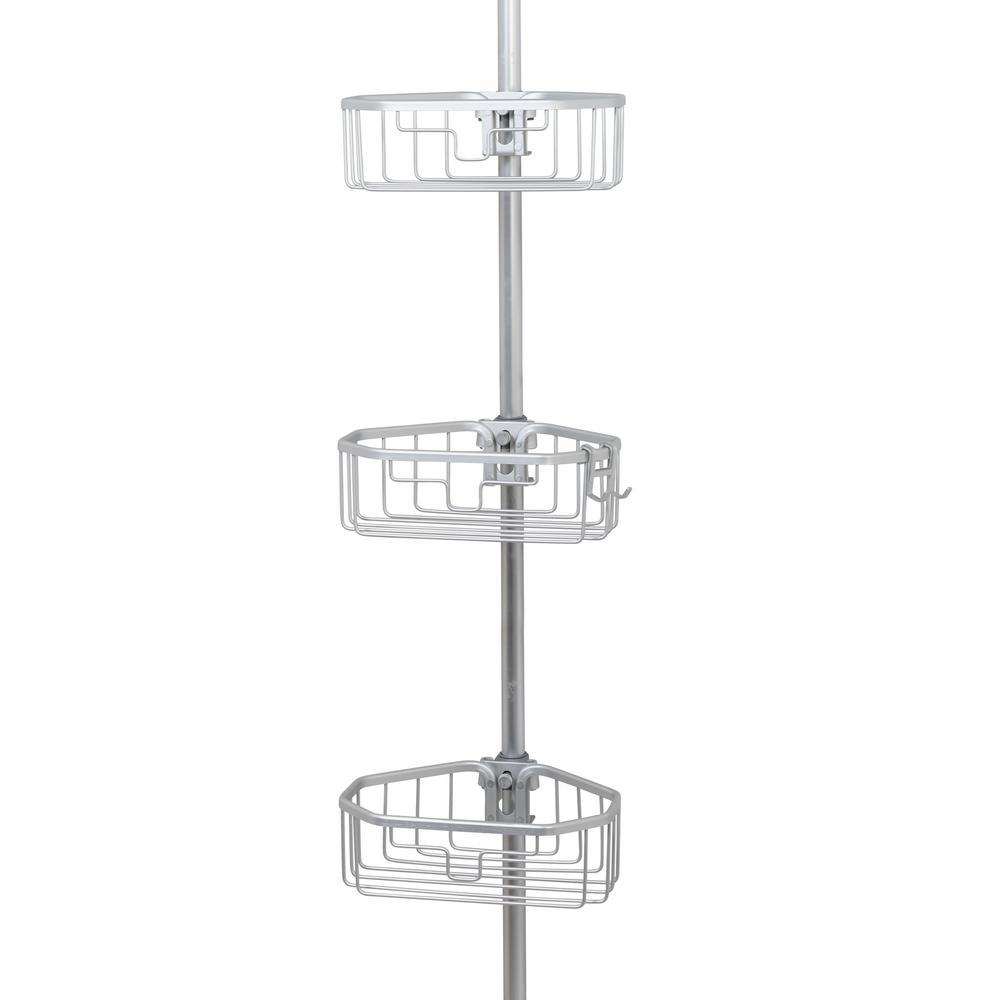 Zenna Home NeverRust Aluminum Tension Corner Shower Caddy in Satin ...