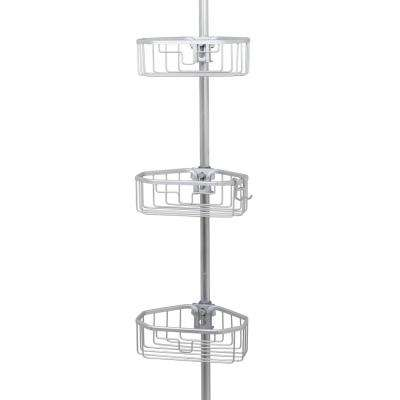 NeverRust Aluminum Tension Corner Shower Caddy in Satin Chrome