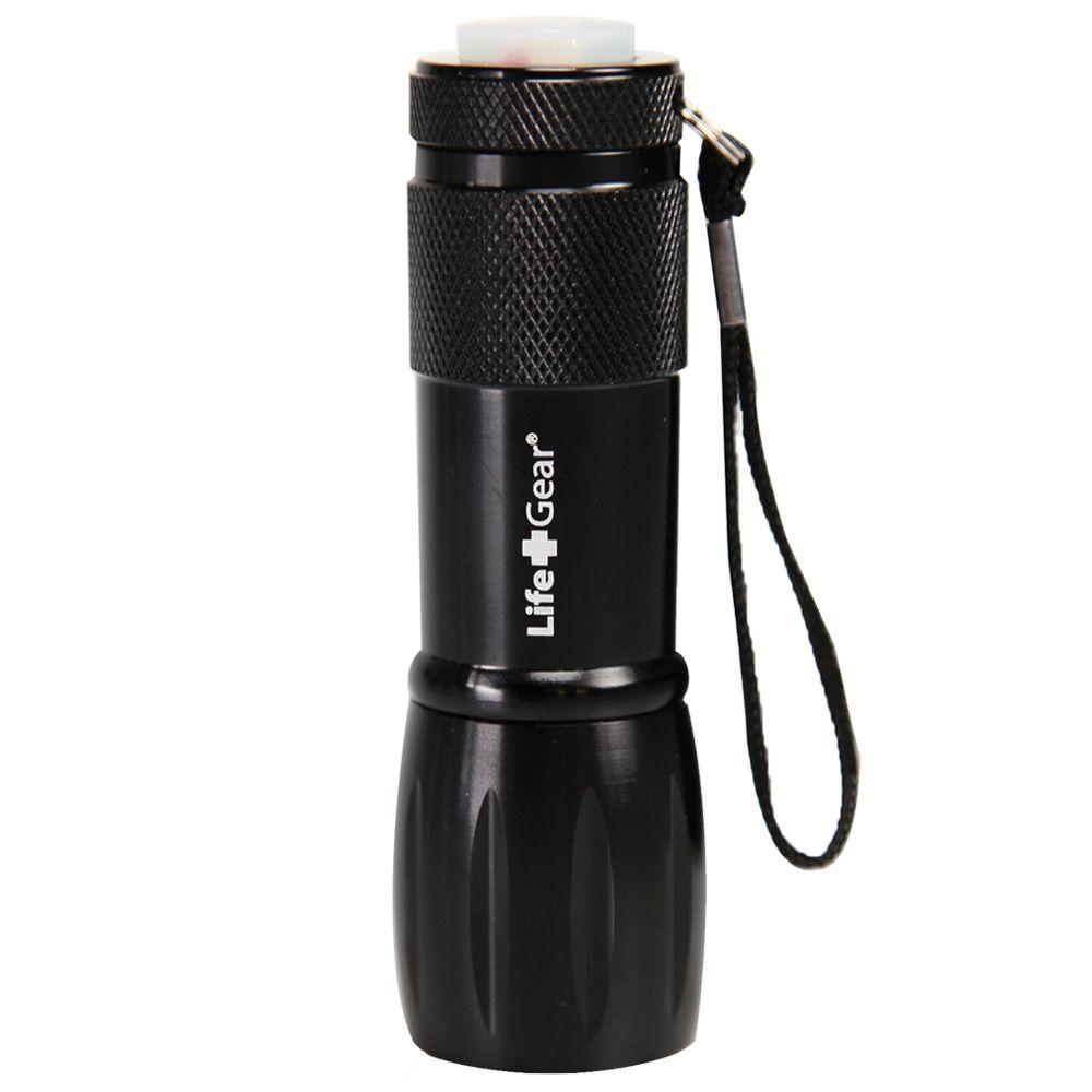 Life Gear Mini Max LED Black Flashlight with Red Tail Eme...