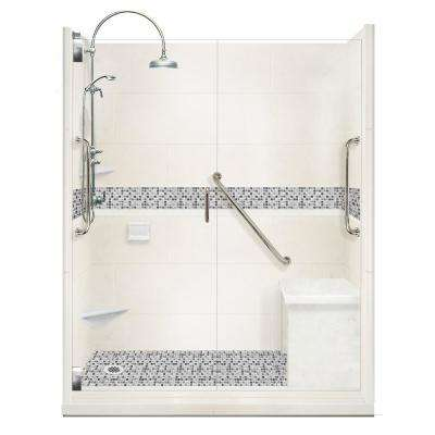 Del Mar Freedom Luxe Hinged 34 in. x 60 in. x 80 in. Left Drain Alcove Shower Kit in Natural Buff and Nickel Hardware