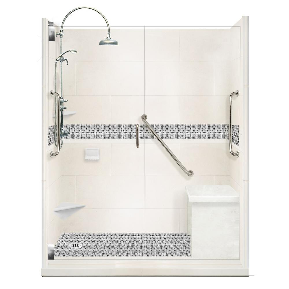 American Bath Factory Del Mar Freedom Luxe Hinged 42 in. x 60 in. x 80 in. Left Drain Alcove Shower Kit in Natural Buff and Chrome Hardware
