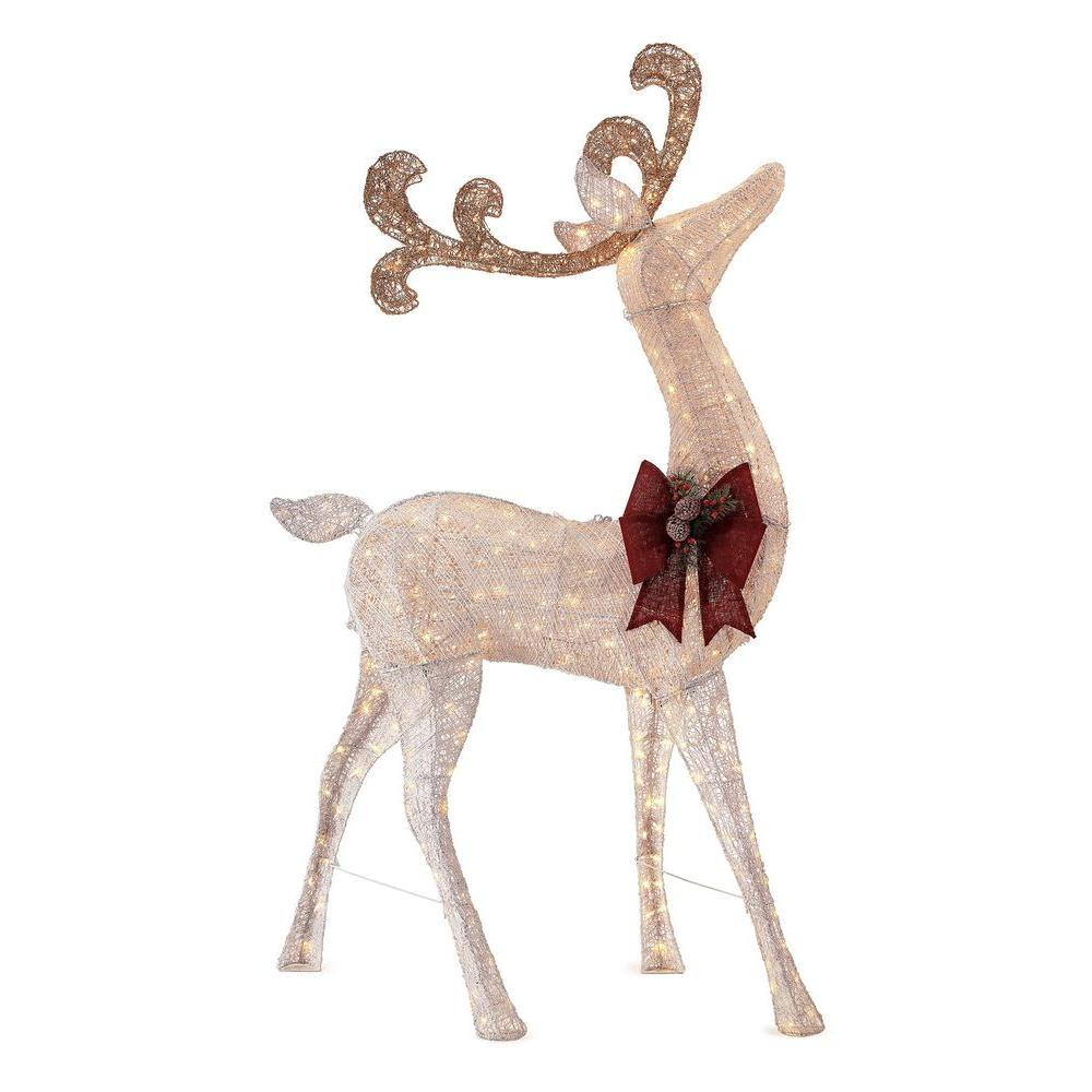 Home accents holiday 91 in led lighted standing deer for Christmas deer decorations indoor