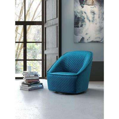Pug Quilted Aquamarine Velvet Swivel Arm Chair