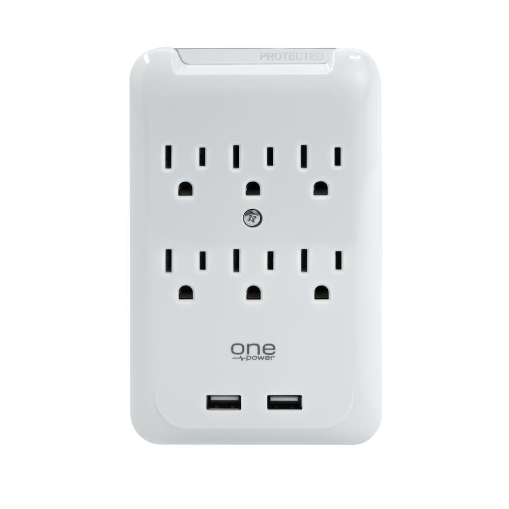 ProMounts 6 Outlet/2 USB Surge Protection Wall Tap by One Power