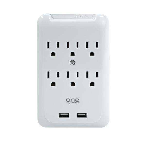 6 Outlet/2 USB Surge Protection Wall Tap by One Power