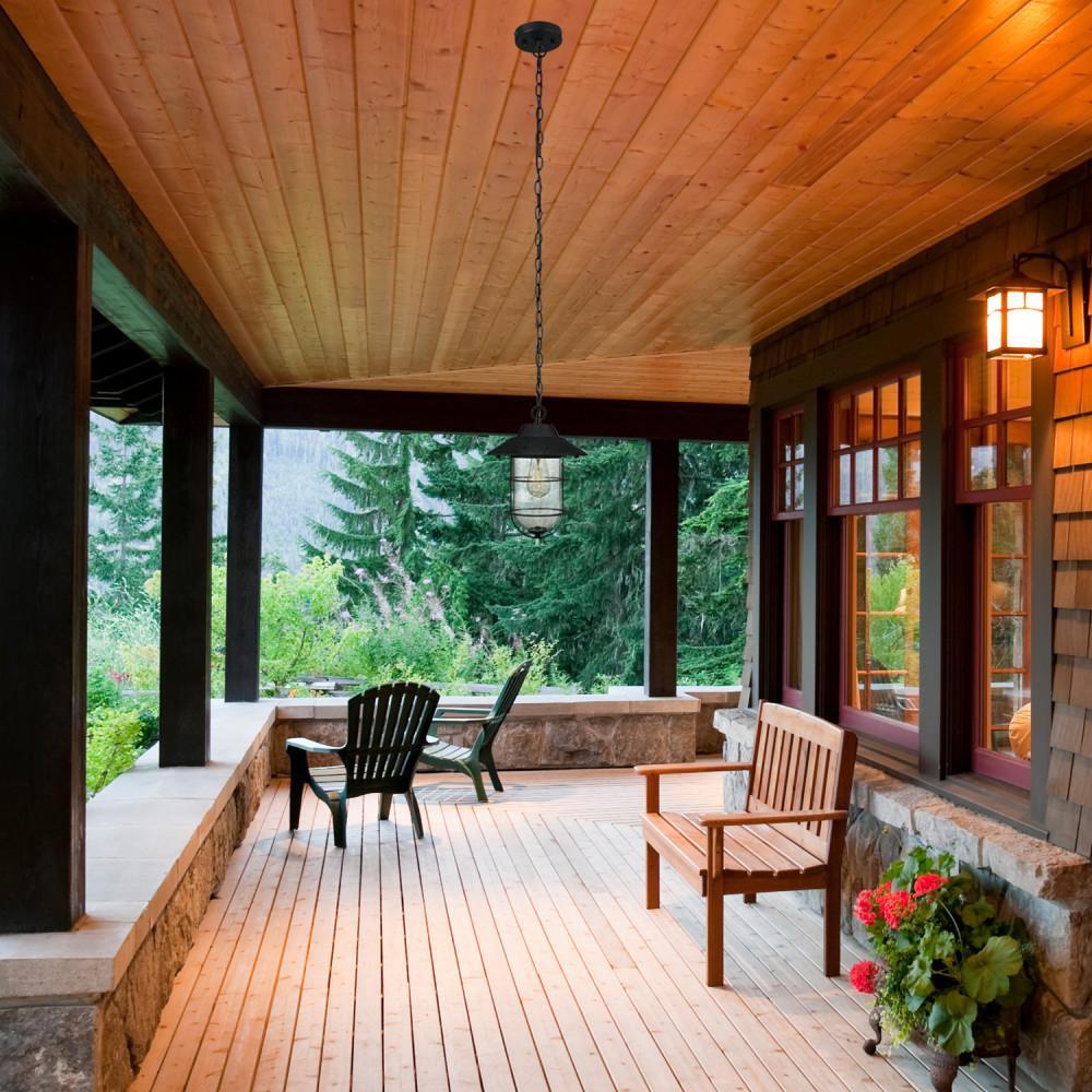 Matthews Matte Black Outdoor/Indoor 1-Light Hanging Pendant with Seeded Glass Shade