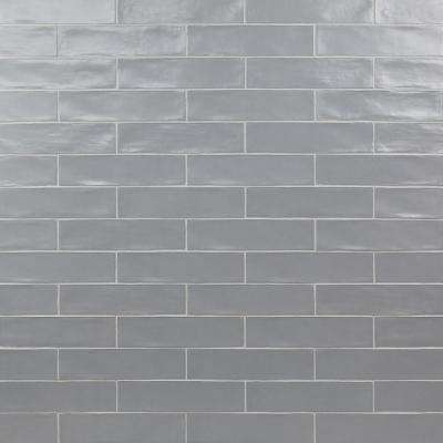 Strait Gray 3 in. x 12 in. 8 mm Polished Ceramic Subway Wall Tile (22 piece 5.38 sq. ft. / Box)