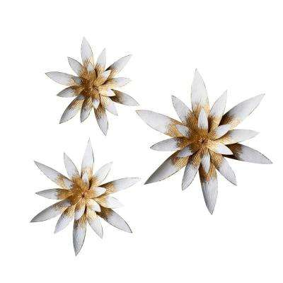 Metal Star Flowers Wall Decor (3-Pieces)