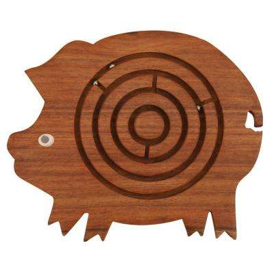 Wooden Brown Pig Shape Labyrinth Ball Maze Puzzle Game