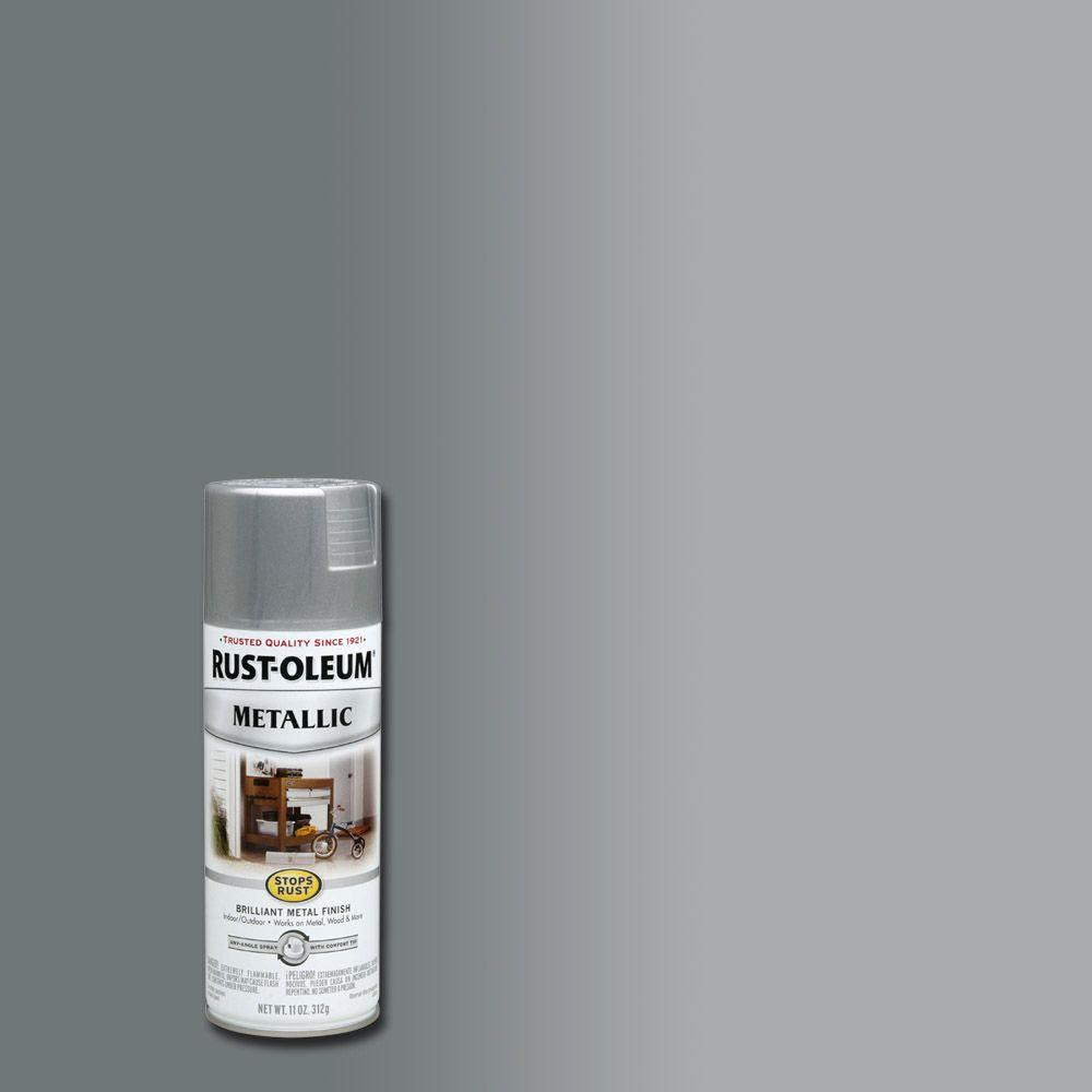 Rust-Oleum Stops Rust 11 oz. Silver Protective Enamel Metallic Spray Paint-7271830 ...
