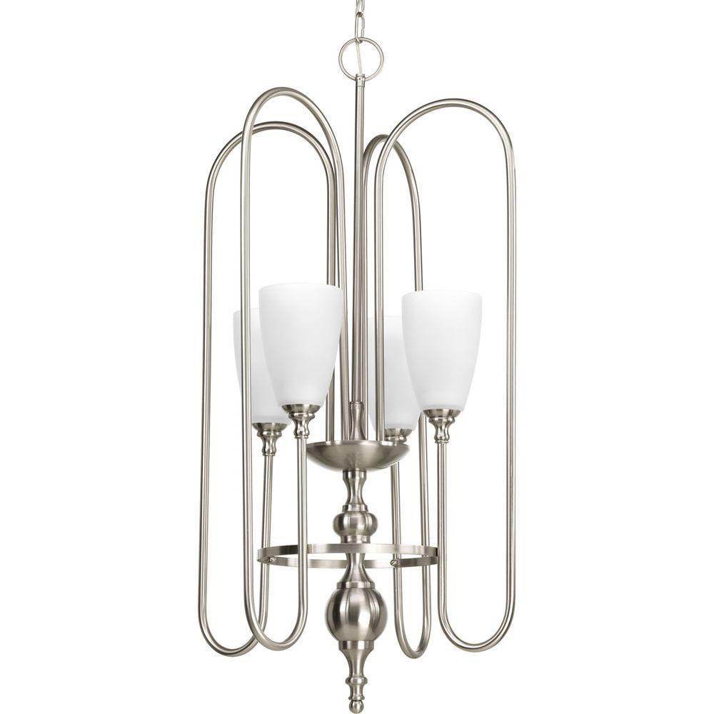 Progress Lighting Revive Collection 4-Light Brushed Nickel Foyer Pendant with Etched Fluted Glass