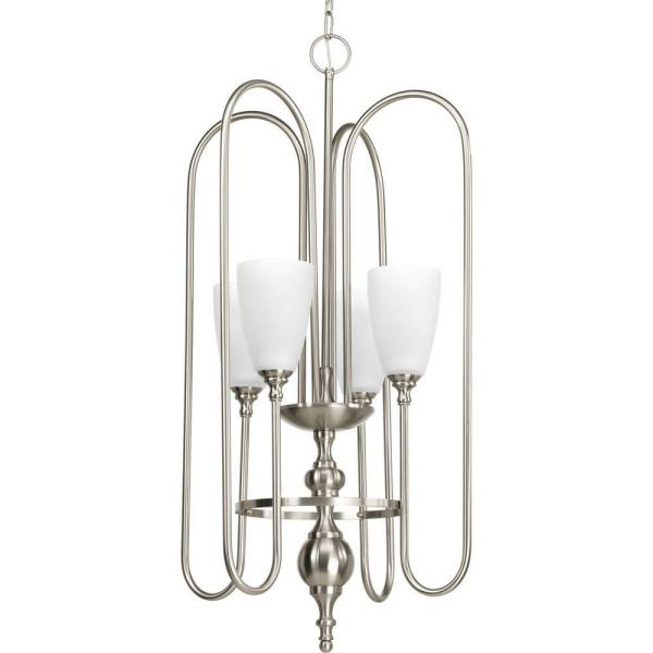 Revive Collection 4-Light Brushed Nickel Foyer Pendant with Etched Fluted Glass
