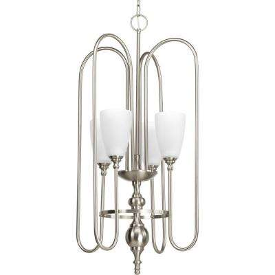 Clearance pendant lights lighting the home depot revive collection 4 light brushed nickel foyer pendant with etched fluted glass mozeypictures Images