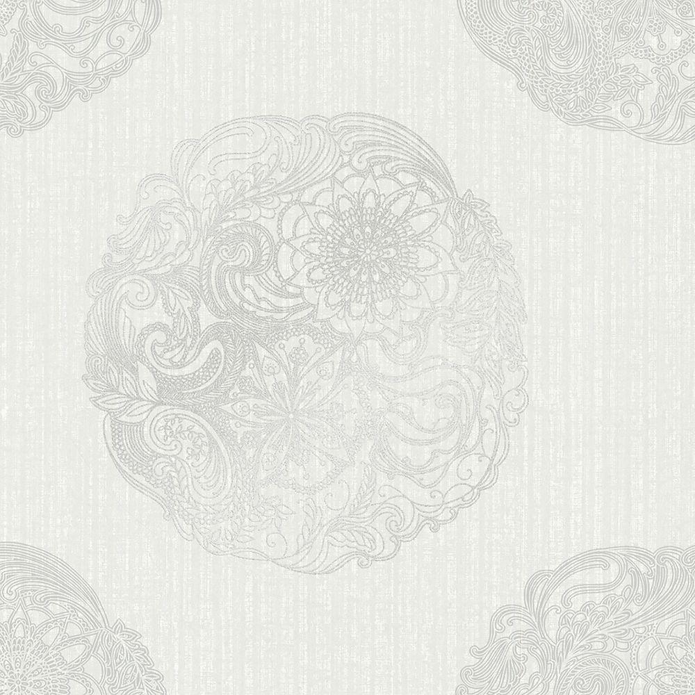 Kenneth James Cordova Light Grey Medallion Wallpaper