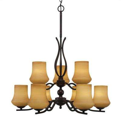 9-Light Dark Granite Chandelier with 5.5 in. Zilo Cayenne Linen Glass