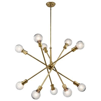 Armstrong 10-Light Natural Brass Chandelier