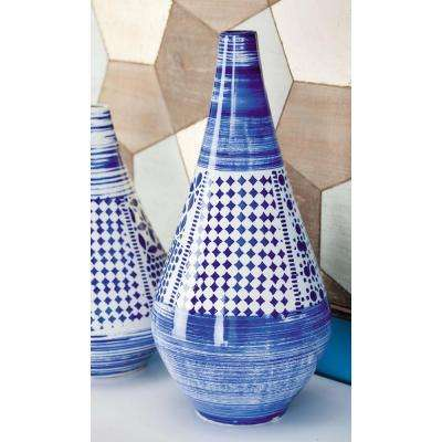 21 in. Oriental Blue and White Decorative Vase