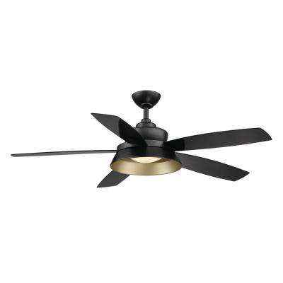 Kempston 52 in. Integrated LED Outdoor Matte Black Ceiling Fan with Light Kit and Remote Control