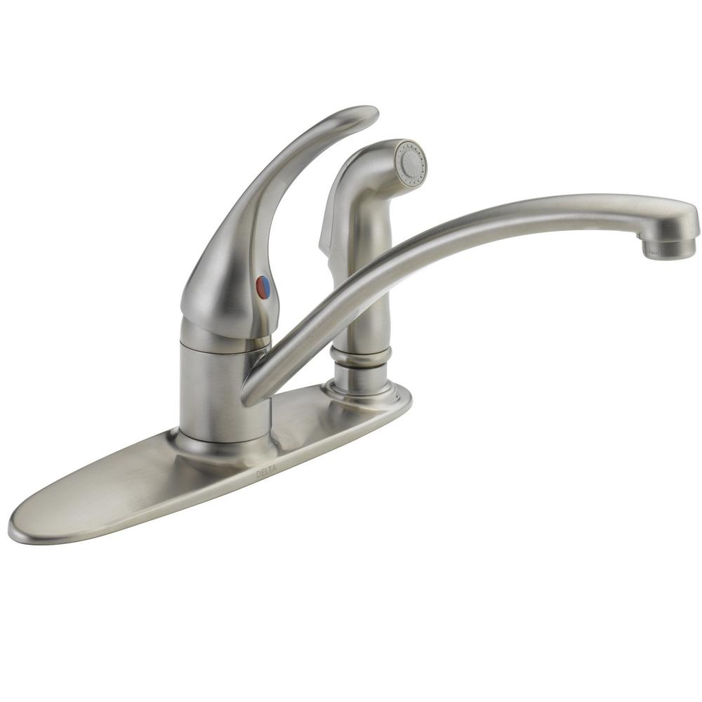 Super Delta Foundations Single Handle Standard Kitchen Faucet With Side Sprayer In Stainless Download Free Architecture Designs Rallybritishbridgeorg