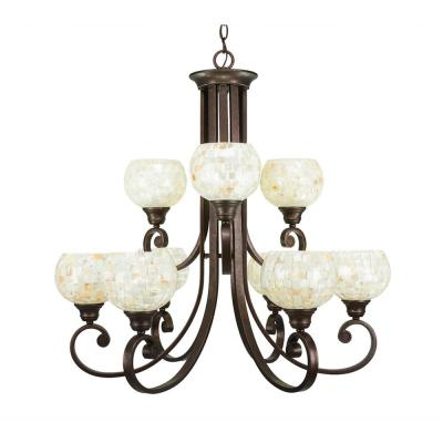 9-Light Bronze Chandelier with Mystic Seashell Glass Shade