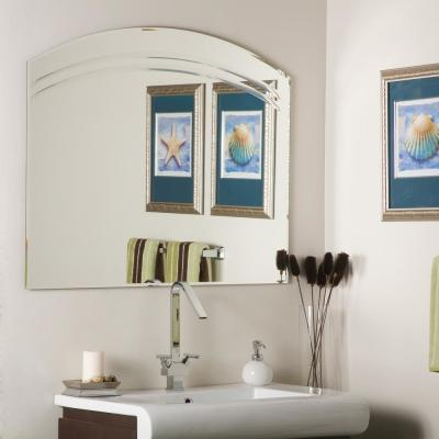 40 in. W x 32 in. H Frameless Arched Beveled Edge Bathroom Vanity Mirror in Silver