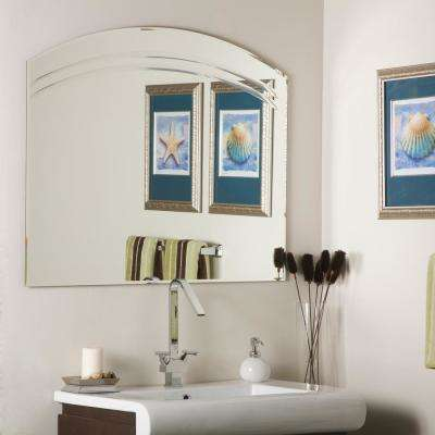 31.5 in. x 39.5 in. Arched Rectangle Angel Large Frameless Wall Mirror with Beveled Edge