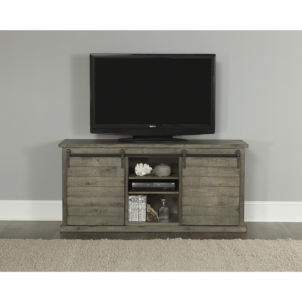 Huntington 64 in. Distressed Gray Wood TV Stand Fits TVs Up to 70 in. with Storage Doors