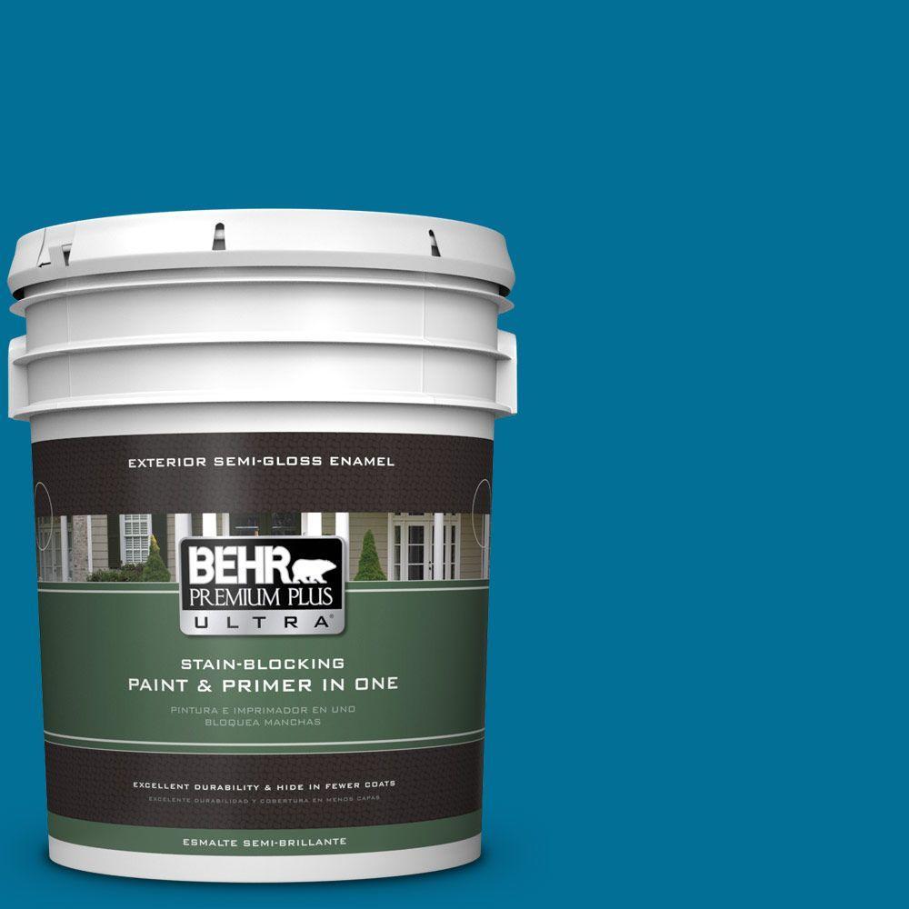 BEHR Premium Plus Ultra 5-gal. #S-G-530 Glacier Lake Semi-Gloss Enamel Exterior Paint