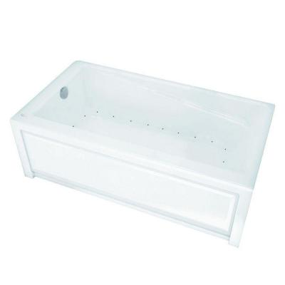 New Town 6030 5 ft. Acrylic Left Drain Rectangular Alcove Air Bath Tub in White